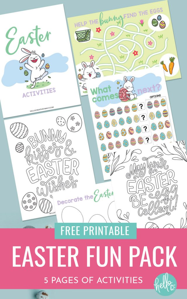 Get ready for some Easter fun with this Easter Printable Activity Pack! Filled with 5 pages of fun for kids including coloring sheets, Easter egg decorating, maze and complete the pattern! The perfect kids activity for Easter morning!