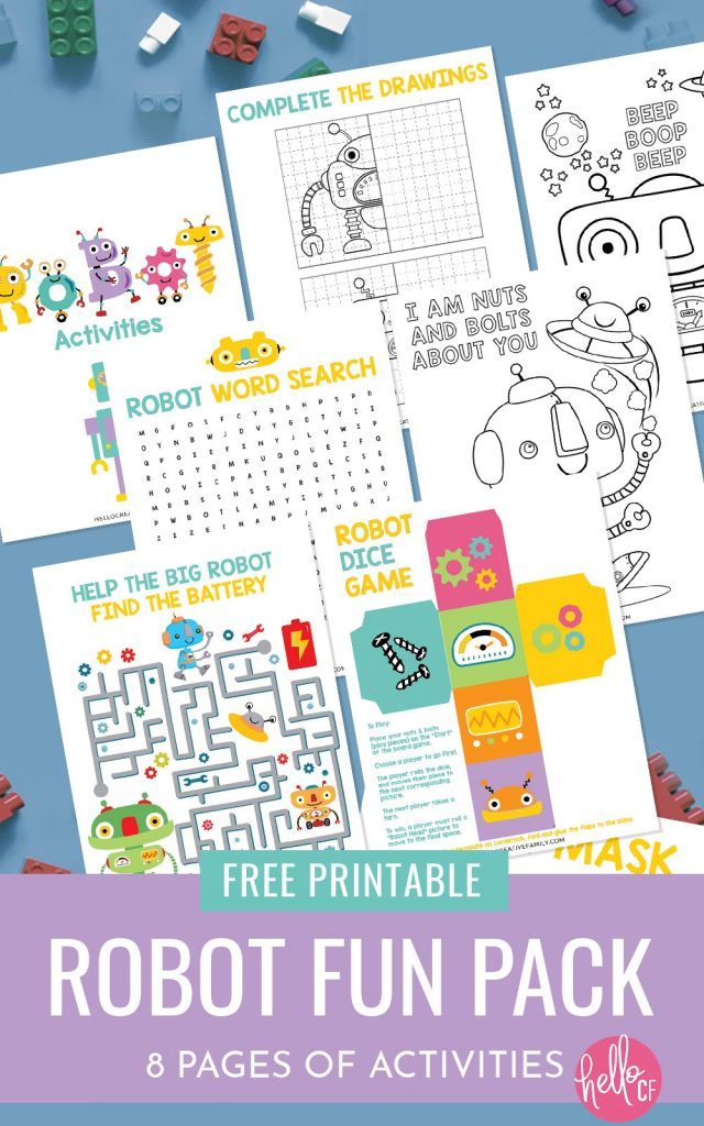 Get ready for some Robot fun with this Robot Printable Activity Pack! Filled with 7 pages of fun for kids including a DIY robot game, robot word search, maze, complete the robot, coloring and more! The perfect printable to keep kids entertained on weekends and school breaks! Great for robot themed birthdays or for STEAM or STEM themed classroom activities for elementary school!