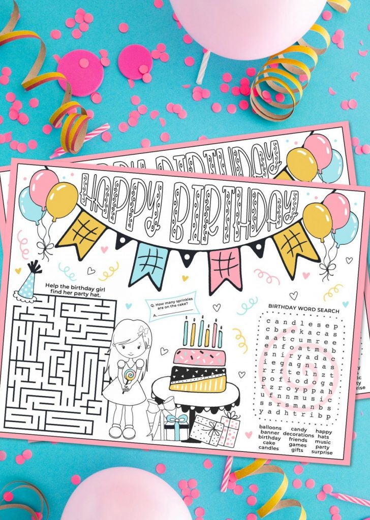Birthday Girl Activity Placemat on blue backdrop with confetti, balloons and candles.