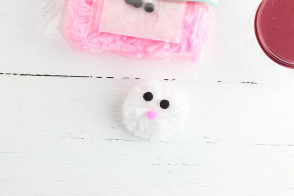 Take your small yarn pom pom and glue the eyes and nose on the front.
