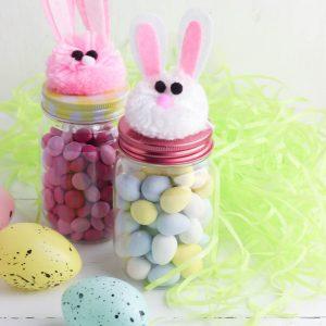Easy DIY Easter Bunny Treat Jars- Dollar Store Craft
