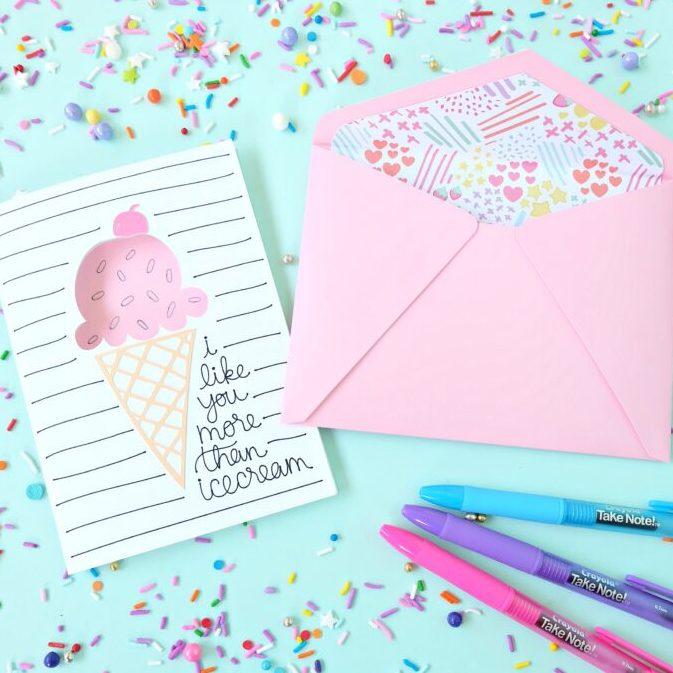 Ice Cream Birthday Card made with the Cricut cutting machine.