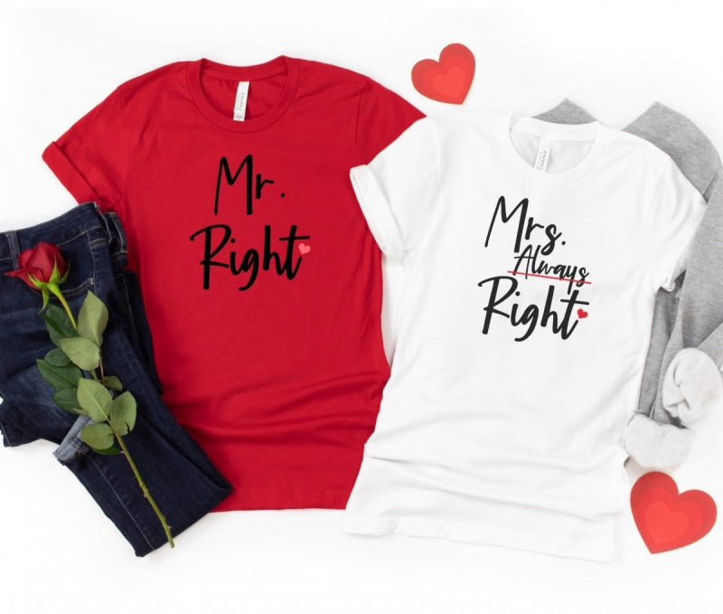 Red shirt that says Mr Right and White Shirt that says Mrs Always Right. Husband and wife shirts.