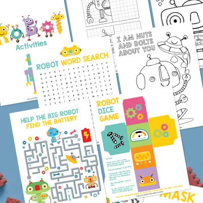 Get ready for some Robot fun with this Robot Printable Activity Pack! Filled with 7 pages of fun for kids including a DIY robot game, robot word search, maze, complete the robot, coloring and more! The perfect printable to keep kids entertained on weekends and school breaks!