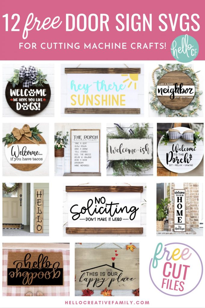 Make door signs, welcome mats and porch decor for your house with these 12 free door sign SVGS! Use your Cricut Maker, Cricut Explore Air 2 or Cricut Joy to craft decor for your home! Wonderful for handmade housewarming gifts and gifts for newlyweds!
