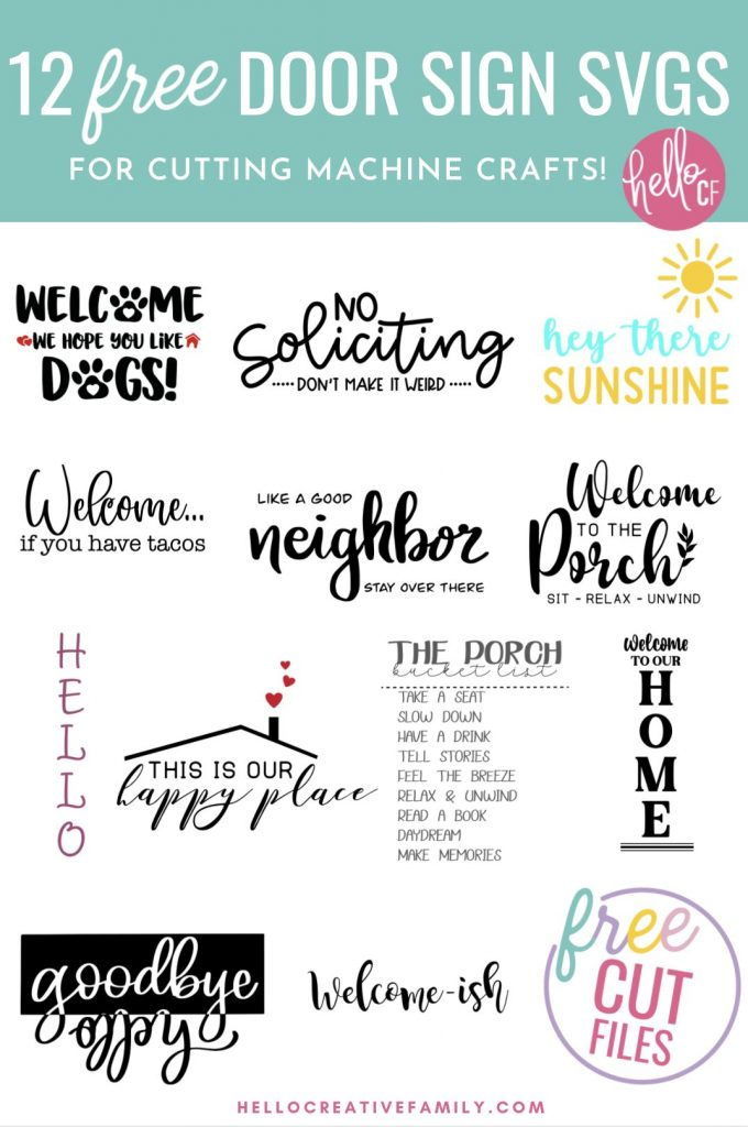 Make door signs, welcome mats and porch decor for your house with these 12 free door sign SVGS! Use your Cricut Maker, Cricut Explore Air 2 or Cricut Joy to craft decor for your home! Wonderful for handmade housewarming gifts and gifts for newlyweds! Includes a Welcome We Hope You Like Dogs Cut File that is perfect for pet lovers and dog owners!
