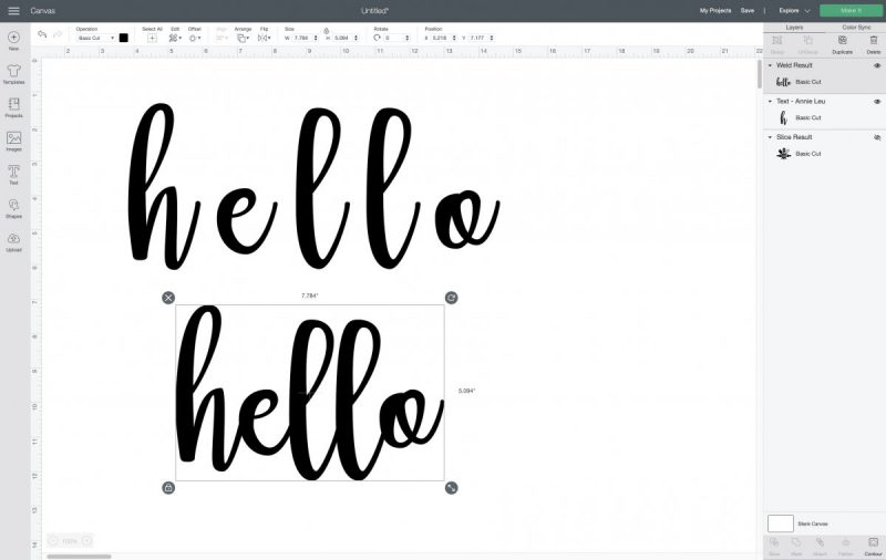 How to use the weld function on an image in Cricut Design Space.