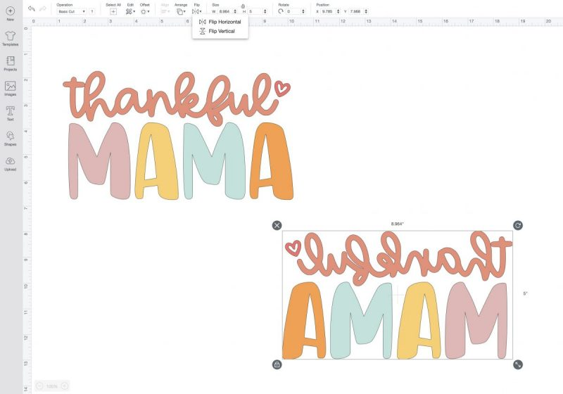 Thankful Mama Cut File. How to mirror  an image in Cricut Design Space.