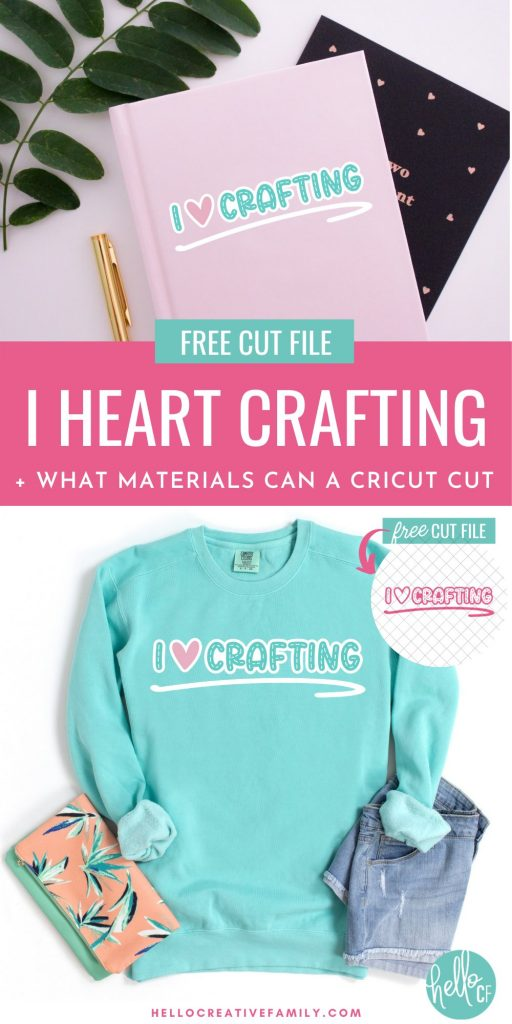 If you love crafting then you are going to want to download this free I Heart Crafting SVG file! It's just as cute as can be and perfect for making DIY shirts, mugs, notebooks and more using your Cricut Maker, Cricut Explore Air 2 or Cricut Joy. This blog post also includes a complete list of what materials you can cut with your Cricut along with 16 projects for Cricut Beginners.