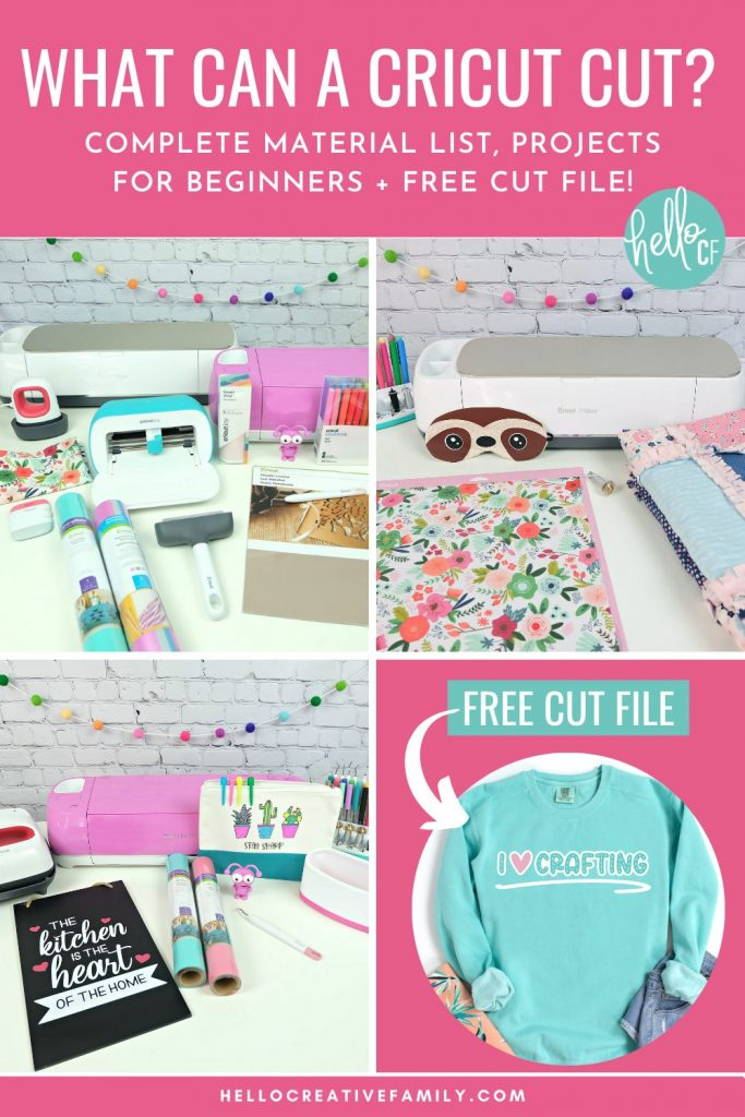 """Have you ever wondered """"What Materials Can a Cricut Cut?"""" If so, we've got a complete material list showing what you can cut with the Cricut Maker, Cricut Explore Air 2 and Cricut Joy. We're also sharing 16 Cricut projects for beginners as well as a free I Love Crafting SVG cut file! If you are a Cricut beginner, you will want to check out all of Hello Creative Family Cricut Basics series."""