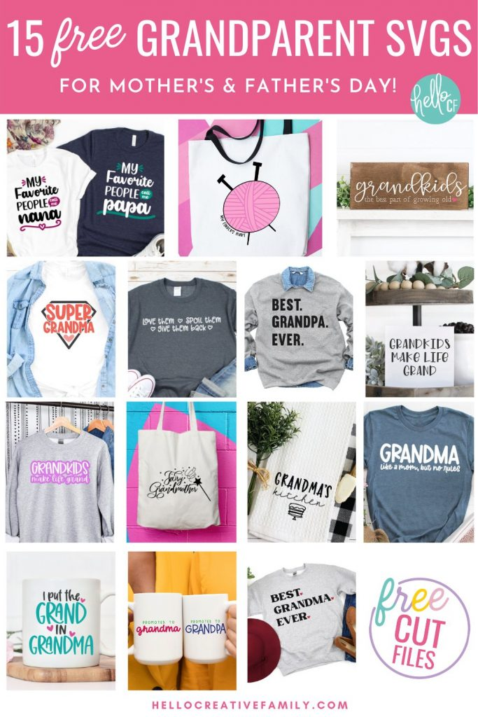 Download 15 Free Grandparent SVGs, perfect for making handmade gifts for Grandma and Grandpa for Mother's Day, Father's Day, birthdays and Christmas! Use your Cricut or other electronic cutting machine to craft beautiful DIY shirts, mugs, tote bags, signs and more for Nana and Papa!