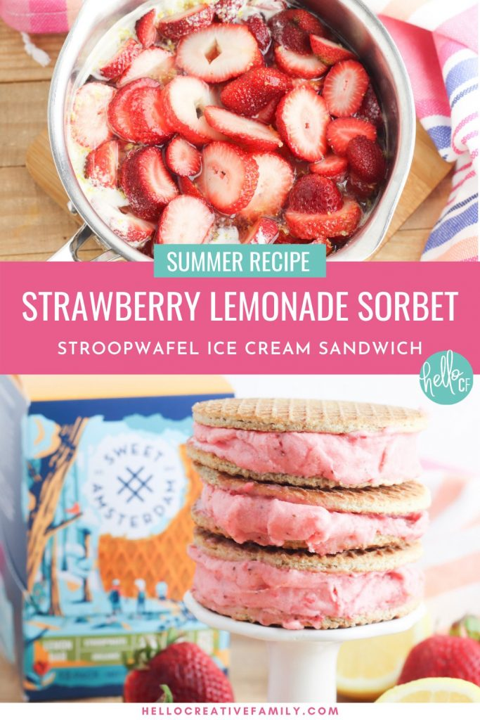 Oh. My. Yum! Get ready for all the flavors of summer with this delicious Strawberry Lemonade Sorbet Ice Cream Sandwich Recipe! Delicious and easy to make, this recipe uses Sweet Amsterdam lemon bar stroopwafels as the sandwich and homemade sorbet using sweet summer strawberries as the filling! A delicious dessert idea that the whole family (kids and parents!) will love!