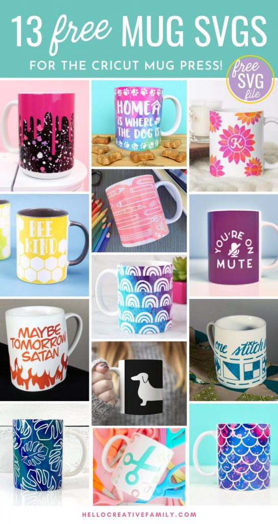 Download 13 free wrapped mug svgs that are perfect for using with the Cricut Mug Press! From dog themed mugs, to funny mugs, to crafty mugs we've got you covered with a ton of adorable designs! Cut using your Cricut Maker, Cricut Explore Air 2 or Cricut Joy! They make great handmade gifts.