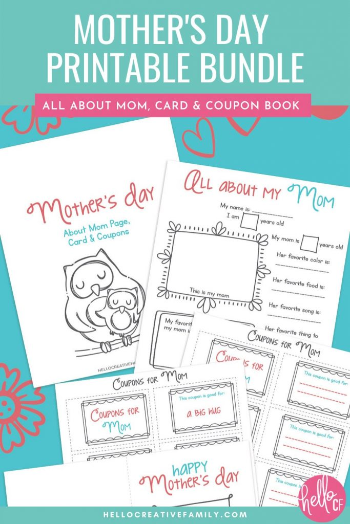 Happy Mother's Day! We have a super cute, free Mother's Day Printable Bundle that kids can fill out for their mom! It includes a coupon book for mom, All About My Mom questionnaire and a DIY Mother's Day Card for kids to fill out. A fun Mother's Day activity for elementary school aged kids. Makes a sweet handmade birthday present for moms too!
