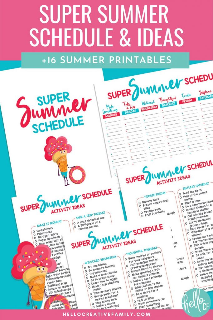 """Avoid """"I'm Bored!"""" this summer with our Super Summer Schedule! This fun printable has a different theme idea for each day of the week, activity ideas for each theme and a schedule to write the activities down on! With themes like """"Make It Monday"""", """"Thoughtful Thursday"""" and """"Foodie Friday"""" your kids are going to have the most fun summer ever! We're also sharing 16 free summer printables for extra summer break kids activities fun!"""