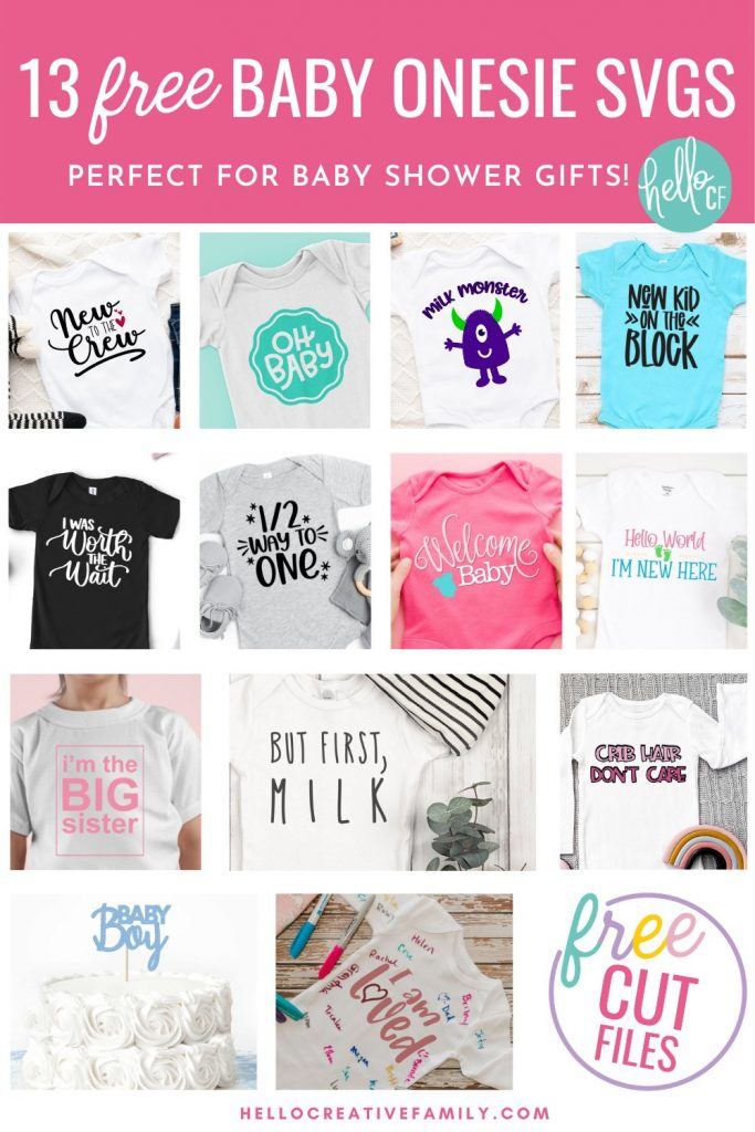 Download these free baby onesie SVGs for making handmade baby shower gifts! These designs are too stinking cute and perfect for making DIY clothing for your new addition using your Cricut or other electronic cutting machine. Includes a Milk Monster design with the cutest little monster along with 13 free baby shower cut files!