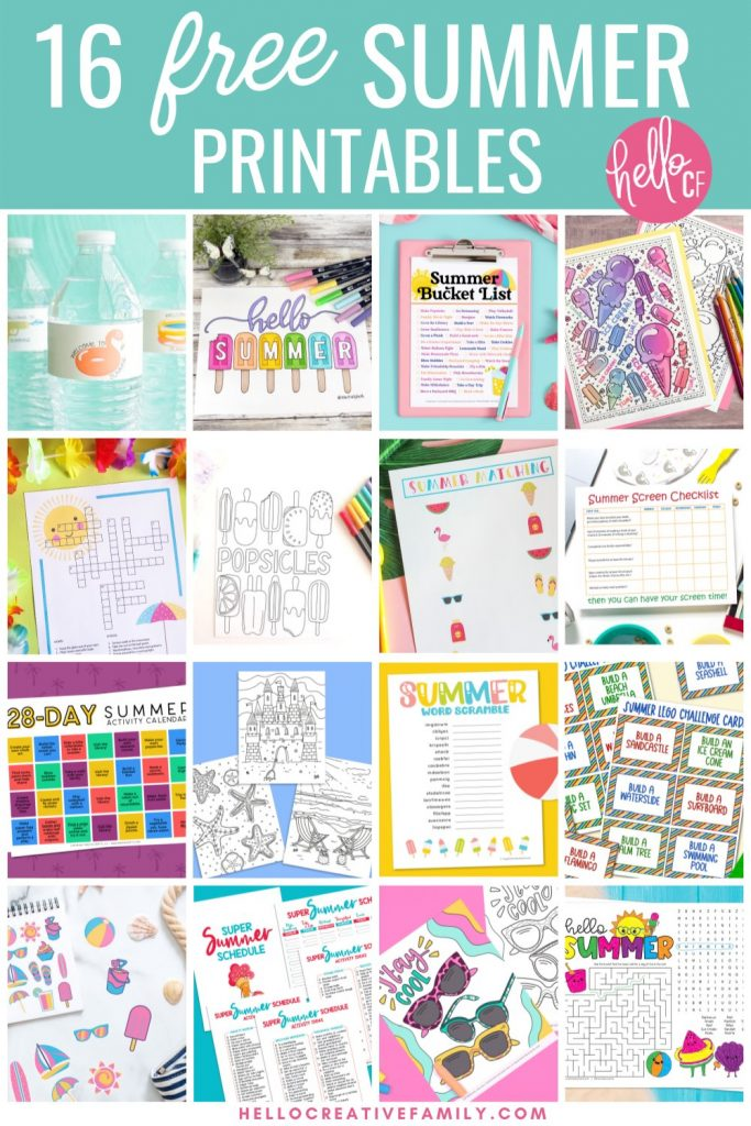 Have fun all summer long with 16 free summer printables that your kids will LOVE! We've got coloring sheets, stickers, word searches, crosswords, a summer lego challenge, super summer schedule and so much more! These all make fabulous kids bordom busters during summer break! Download them all!