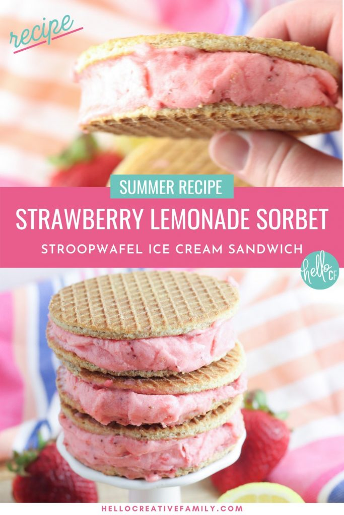 Oh. My. Yum! Get ready for all the flavors of summer with this delicious Strawberry Lemonade Sorbet Ice Cream Sandwich Recipe! Delicious and easy to make, this recipe uses Sweet Amsterdam lemon bar stroopwafel cookies as the sandwich and homemade sorbet using sweet summer strawberries as the filling! A delicious dessert idea that the whole family (kids and parents!) will love!