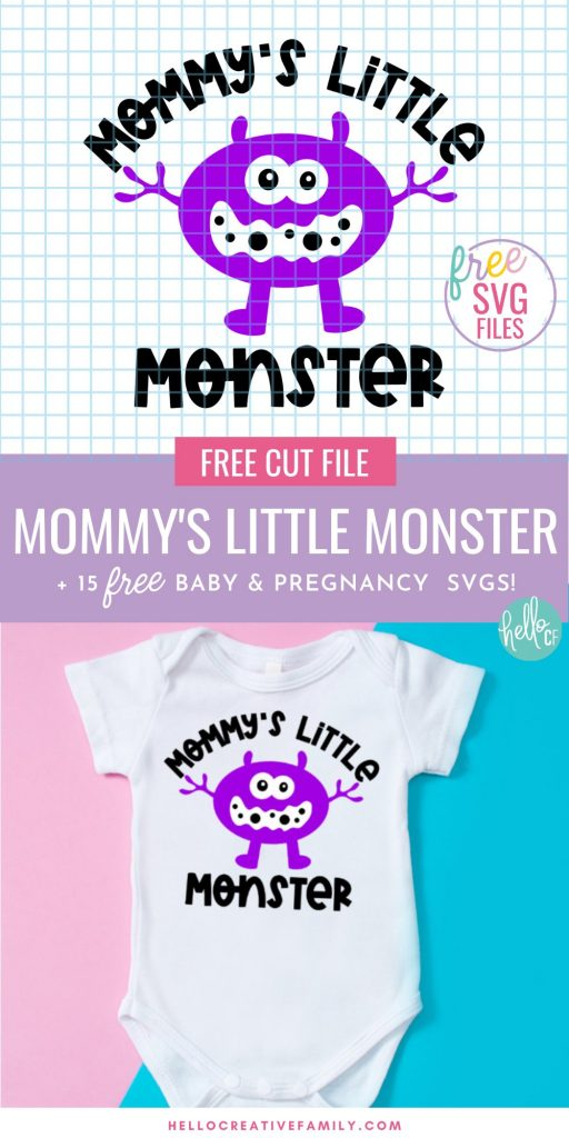 Looking for a handmade baby shower gift idea? This free Mommy's Little Monster SVG File is perfect for making DIY baby onesies using your Cricut or Silhouette! Also find a Little Monster mix and match bundle with 5 different monsters and different family member names including nana, papa and daddy.  #babyshower #BabyGift #PregnancySVG #BabyGiftSVG #BabySVG #Cricut #Silhouette #CricutMade #CricutCreated #LittleMonster #monster