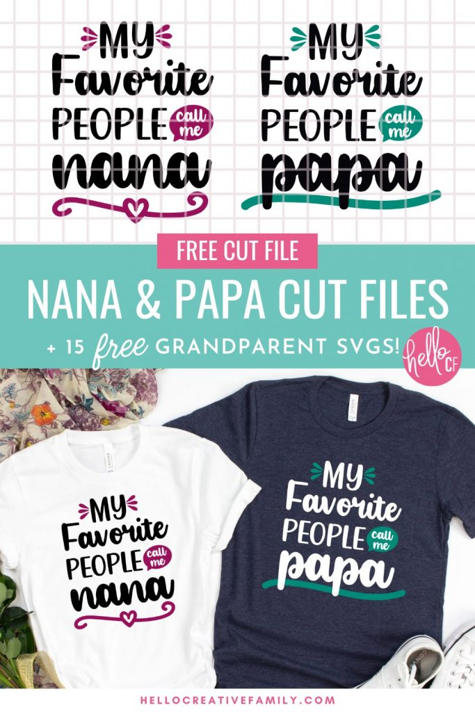 Download these free Nana and Papa SVG Files for making handmade gifts for Grandma and Grandpa for Mother's Day, Father's Day, birthdays and Christmas! Use your Cricut or other electronic cutting machine to craft beautiful DIY shirts, mugs, tote bags, signs and more for Nana and Papa! Includes 15 free grandparent cut files!