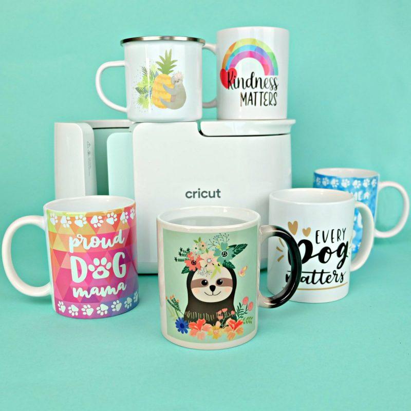 Mugs made with the Cricut Mug Press.