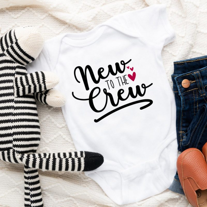 New to the Crew free baby onesie svg from cutting machine crafting.