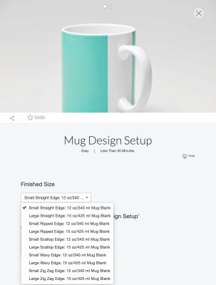 Open Cricut Design Space and search for Mug Design Setup. Select the size mug you will be using and click Customize.