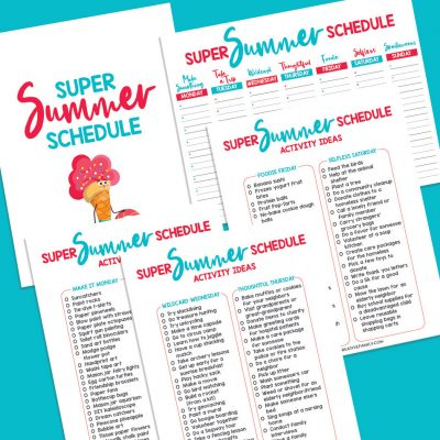 "Avoid ""I'm Bored!"" this summer with our Super Summer Schedule! This fun printable has a different theme idea for each day of the week, activity ideas for each theme and a schedule to right the activities down on! With themes like ""Make It Monday"", ""Thoughtful Thursday"" and ""Foodie Friday"" your kids are going to have the most fun summer ever! We're also sharing 16 free summer printables for extra summer break kids activities fun!"