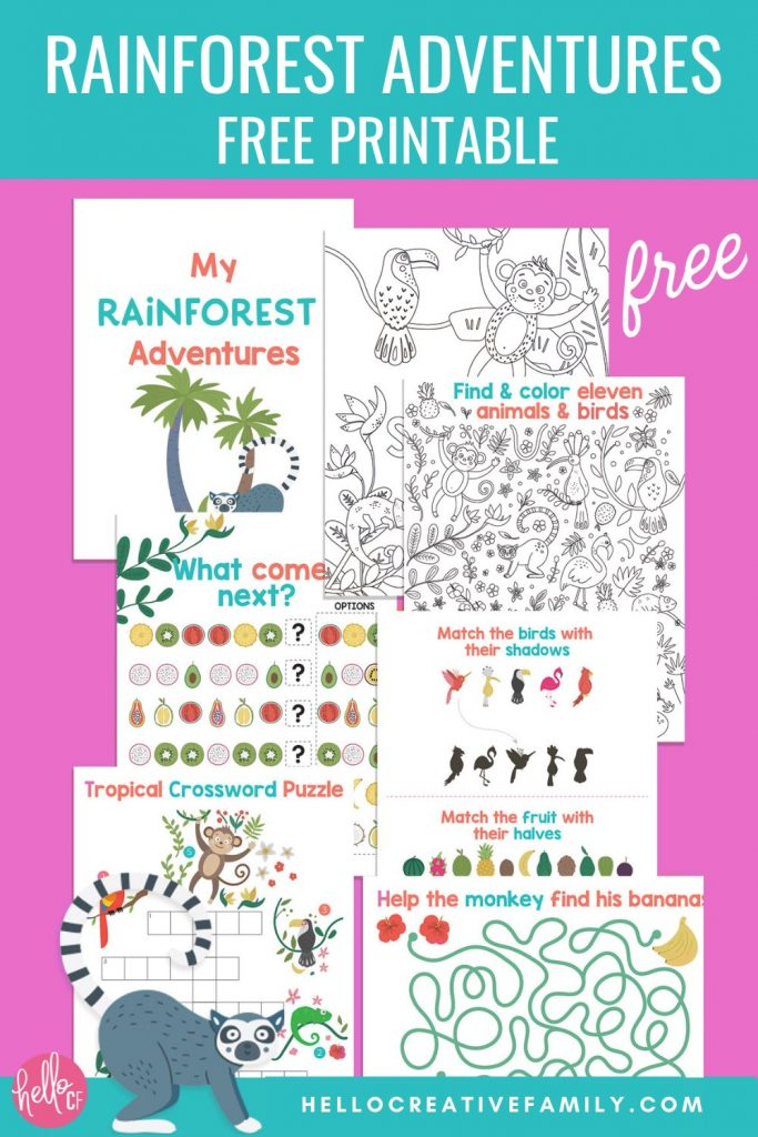 Take a virtual tropical getaway with this this free Rainforest Activity Sheets Printable from Hello Creative Family and EnviroKidz! Includes two jungle coloring sheets, a maze, match games, patterns and tropical crossword puzzles. A fun jungle activity pack for elementary school aged kids!