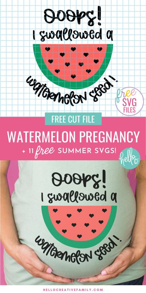 """Get ready for some summer Cricut crafting fun with these 11 free summer SVG files! Easy to use for DIY t-shirts, tank tops, beach bags and more! Includes a super cute watermelon pregnancy SVG that says """"Ooops I Swallowed A Watermelon Seed"""" that's perfect for DIY maternity wear."""