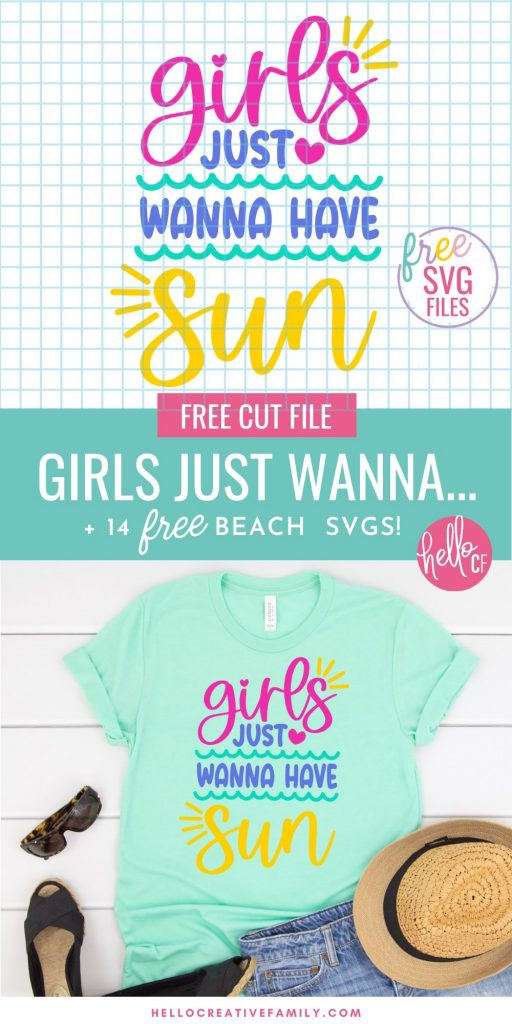 Get ready for summers at the lake or ocean by downloading these free beach SVGs for summer Cricut crafting fun! These designs are too stinking cute and perfect for making DIY t-shirts, tank tops, beach bags, wine tumblers and more for summer! Includes a Girls Just Wanna Have Sun design for all of the 80's music lovers along with 13 free beach cut files!