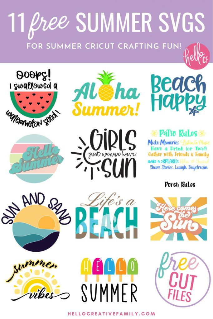 """Get ready for some summer Cricut crafting fun with these 11 free summer SVG files! Easy to use for DIY t-shirts, tank tops, beach bags and more! Includes an """"I Swallowed A Watermelon Seed"""" cut file that's perfect for DIY maternity wear."""