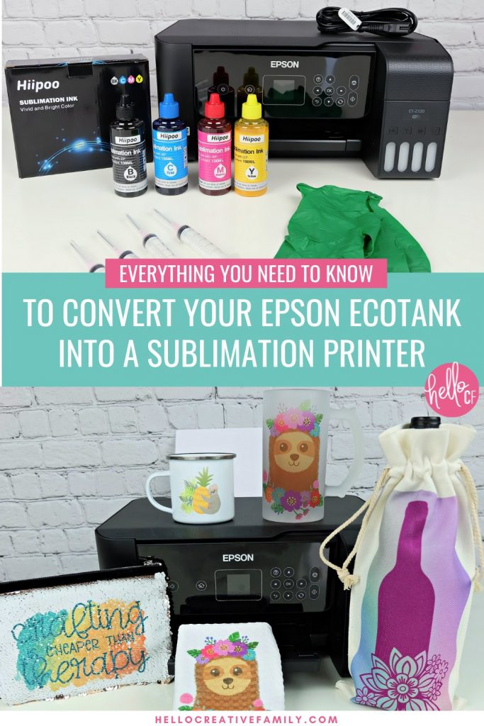 Sublimation printing is the newest hot crafting trend! Traditional sublimation printers can be expensive, so we are sharing how easy it is to convert an Epson EcoTank Printer into a sublimation printer so you can create incredible sublimation crafting projects! This post covers all of your questions and shares step by step instructions and photos for converting your Epson EcoTank printer in minutes!