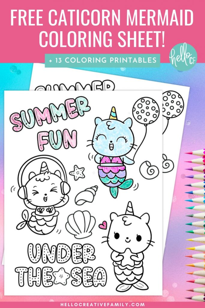 Have some magical summer fun with our Caticorn Mermaid Coloring Sheet along with 13 free printable coloring pages for adults and kids. Print these activity sheets out for fun activities to keep kids entertained while on travelling, on planes, at dinner and more! Perfect for birthday parties!