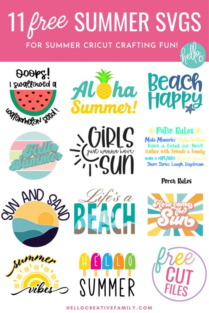Collage of 11 free Summer SVG Cut Files to cut with your Cricut.