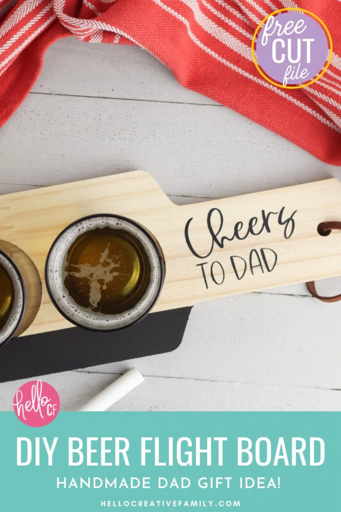 The perfect handmade gift idea for beer lovers! We're showing you how to make a DIY Beer Flight Board using your Cricut Maker, Cricut Explore or Cricut Joy and some chalk paint and vinyl scraps! This is a fun and easy handmade gift idea for dad that takes just minutes to make! He will love it and use it over and over and over again! Perfect for Father's Day, Christmas and birthdays!