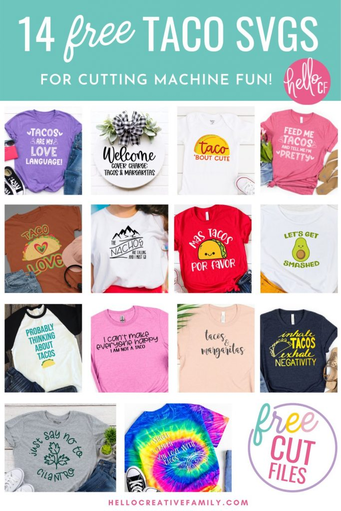 Collage of Taco themed handmade gifts, made using free Taco SVG files.