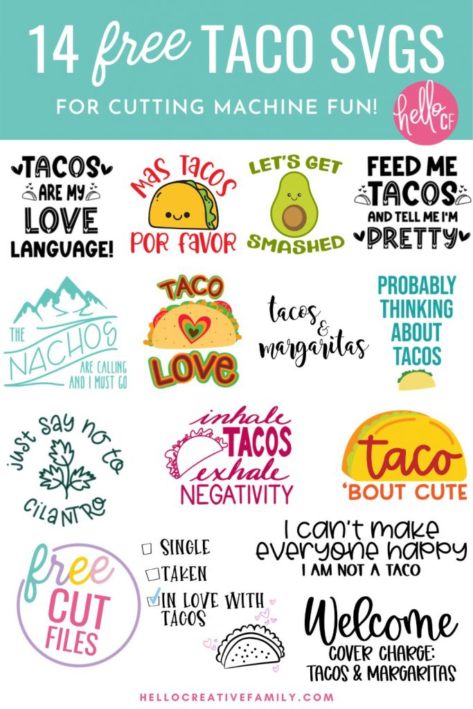 If you LOVE tacos (like I do) than you have definitely come to the right place! Get ready for some tasty Cricut crafting fun with these 14 free Taco SVG files including Feed Me Tacos And Tell Me I'm Pretty! Because isn't that what every taco loving gal wants? Easy to use for DIY t-shirts, tank tops, mugs, beach bags and more! So much fun for making handmade gifts for taco lovers!