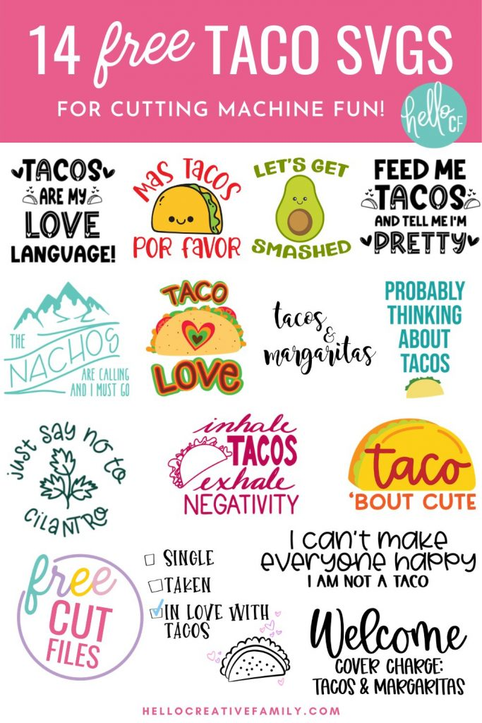 Collage of free Taco SVG files.