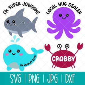 This cute Kawaii ocean animals SVG bundle is so much fun and perfect for making crafts for babies, toddlers, kids and heck even yourself! Use these beach cut files to make shirts, onesies, mugs, beach bags and more with your Cricut Maker, Cricut Explore Air 2, Cricut Joy, Silhouette Cameo or other electronic cutting machine! This bundle includes 4 designs: Crabby Crab, I'm Super Jawsome Shark, Local Hug Dealer Octopus, I'm Whaley Cute Whale