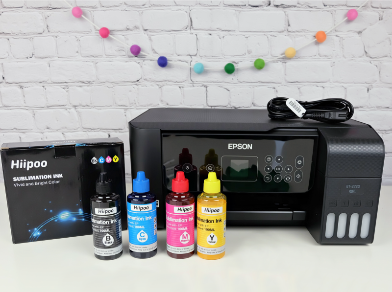 EcoTank Printer with bottles of Hiipoo Sublimation Ink