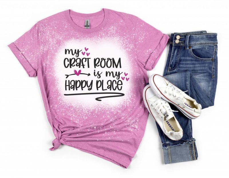 Pink and white bleach splattered shirt with My Craft Room Is My Happy Place on the front.