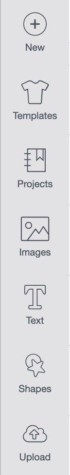 Left toolbar in Cricut Design Space.