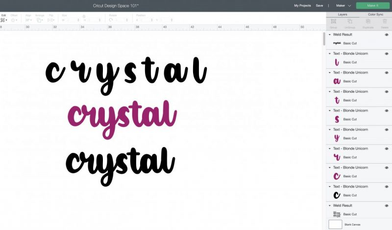Cricut Design Space 101: How to use weld button with fonts