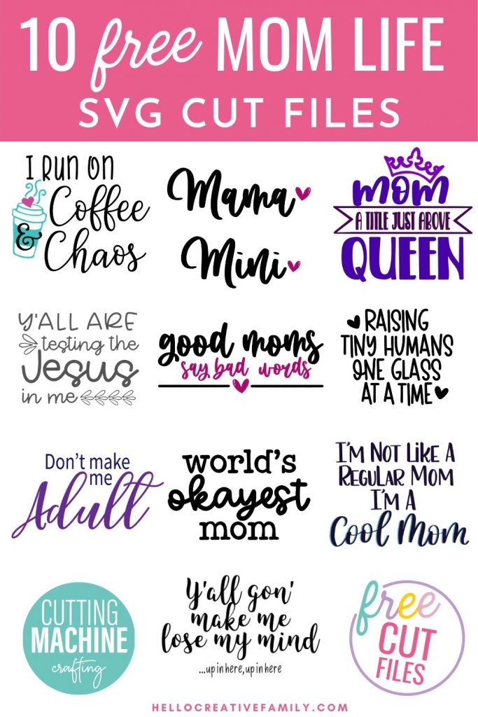 If you (or one of your loved ones)are the kind of Mama who occasionally lets cuss words fly, then this is for you! We're sharing a Good Moms Say Bad Words cut file as a part of our brand new free Mom Life SVGs collection! Use these free SVG files to make t-shirt, mugs, hoodies and more using your Cricut or other electronic cutting machine!