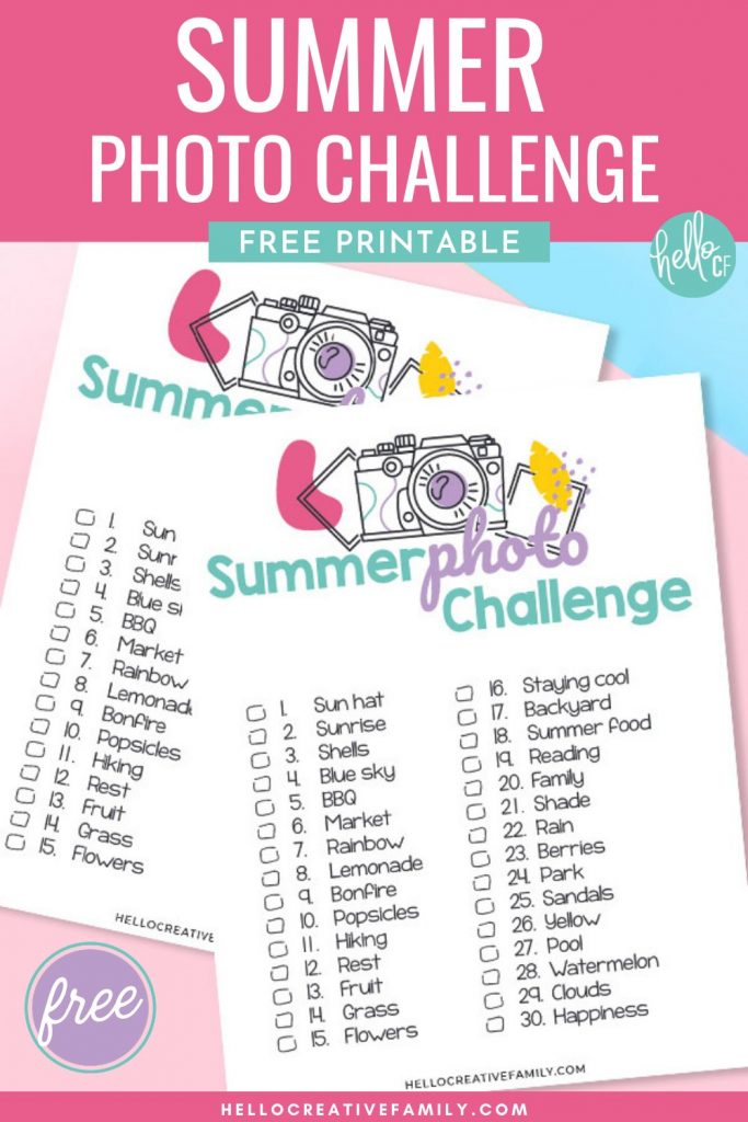 Get those creative wheels turning with our summer photo challenge printable! Whether you are a beginner photographer looking for creative inspiration, or an advanced photographer seeking some outside the box ideas you will love this printable! Also makes a super fun photo scavenger hunt idea!