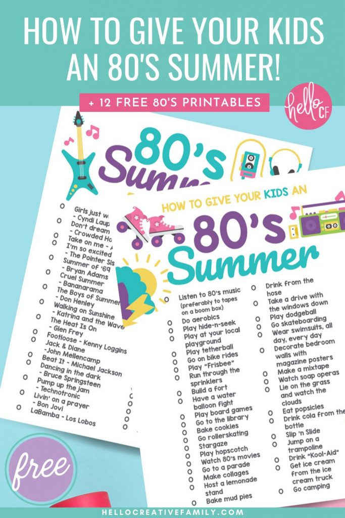 Get ready for big hair, roller skates, boom boxes cassette tapes with our How To Give Your Kids An 80's Summer printable! This download has a ton of 80's summer bucket list items that will get your kids feeling like kids and enjoying each day all summer long! Also includes a fun 80's summer playlist that they can play on repeat. Make sure you also check out the X free 80's printables including cards, stickers, coloring sheets and more!