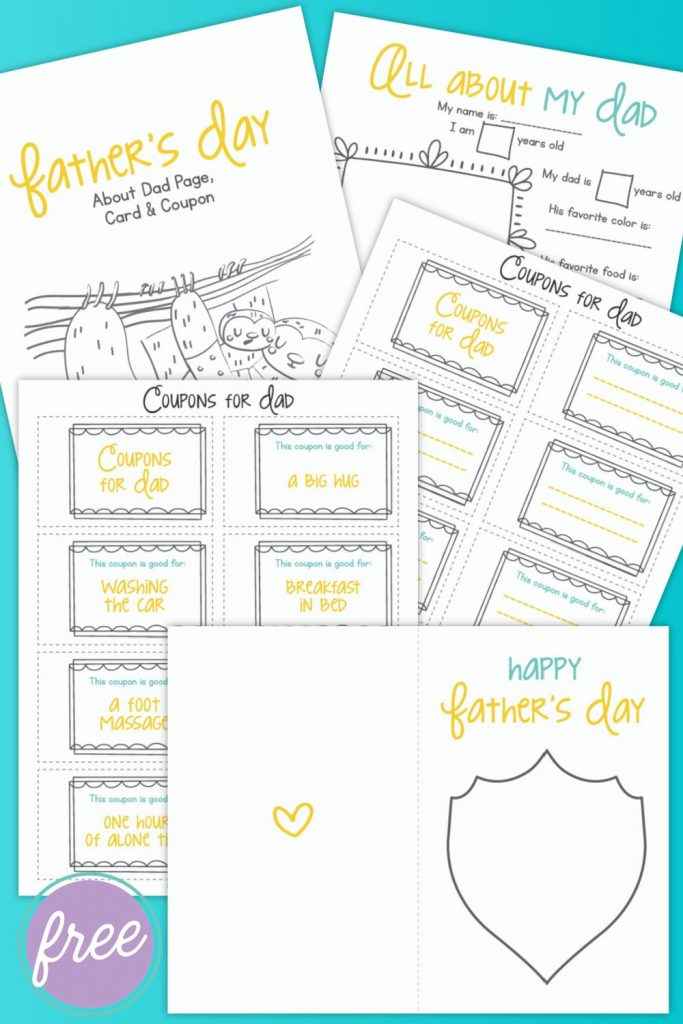 """Happy Father's Day! We have a super cute, free Father's Day Printable Bundle that kids can fill out for their dad! It includes a coupon book for dad, """"All About My Dad"""" questionnaire and a DIY Father's Day card for kids to fill out. A fun Father's Day activity for elementary school aged kids. Makes a sweet handmade birthday present for dads too!"""