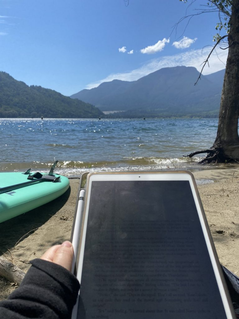 Stand Up Paddle Board and Ipad next to Harrison Bay in BC.