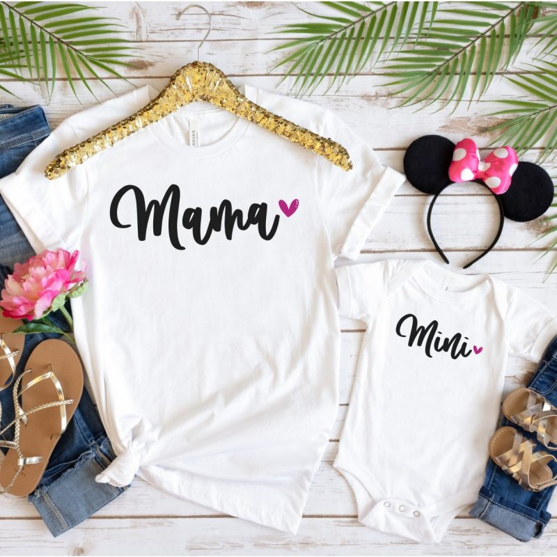 Mama and Mini SVG from Cutting Machine Crafting perfect for making DIY mommy and me shirts.